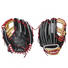 "Wilson 11.75"" A2000 Black w/ Blonde & Red Baseball Glove, WTA20RB181785"