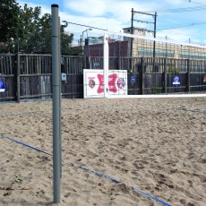 Bison Match Point Outdoor Sand Volleyball Uprights & Net
