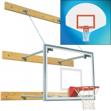 Bison Wall Mounted Basketball Hoop w/ Fan Backboard, 1'-4' EXTENSION