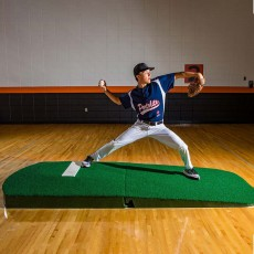 "Portolite 10""Hx9'6""Lx5'W Oversize Indoor/Outdoor Turf Practice Pitching Mound, Green"