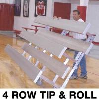4 Row, 15' STANDARD LOW RISE Tip & Roll Bleacher