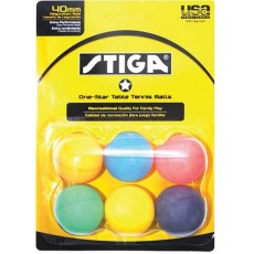 Stiga 1-Star Table Tennis Balls, Multi-Color,  6-Pack
