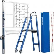 "Porter Powr-Steel 3"" INTERNATIONAL Volleyball Net Package w/ Ref Stand"