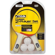 Stiga T1333 Classic Table Tennis Paddles, 2 player set