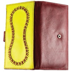 Leather Softball Checkbook Wallet