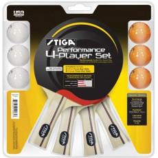 Stiga T1364 Performance Table Tennis Paddles, 4 player set