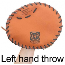 Two Hands Trainer Leather Baseball/Softball Training Glove, LEFT HAND THROW