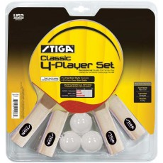 Stiga T1335 Classic Table Tennis Paddles, 4 player set