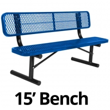 UltraPlay 15' Diamond Plastic Coated Portable Bench w/ Back