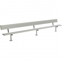 National Rec 15' SURFACE MOUNT Aluminum Team Player Bench w/ Backrest