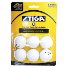 Stiga 1-Star Table Tennis Balls, White, 6-Pack