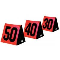 Fisher SLMTOR Triangular Football Sideline Markers, Black Numbers on Orange