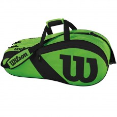 "Wilson Match III 6 Pack Green Tennis Bag, 30""Lx8""Wx13""H"