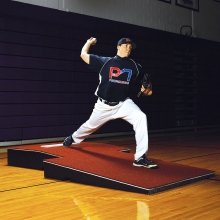 """Promounds 4'Wx9'Lx10""""H Professional 2-piece Indoor Pitching Mound, Clay"""