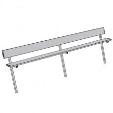 Jaypro 15' PERMANENT Aluminum Player Bench w/ Backrest, PB-20PI