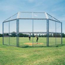 10' x 10', w/ Full Hood Permanent Baseball/Softball Backstop, BSCL10HW