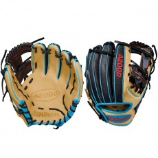 "Wilson 11.5"" A2000 Pedroia Blonde/Black/Blue Baseball Glove, WTA20RB18DP15SS"