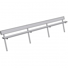Jaypro 21' PERMANENT Aluminum Player Bench w/ Backrest, PB-10PI