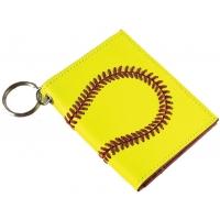 Leather Softball ID Holder & Keychain
