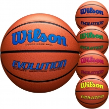 Wilson Intermediate 28.5 Evolution Basketball, Navy, Royal, Green, Scarlet