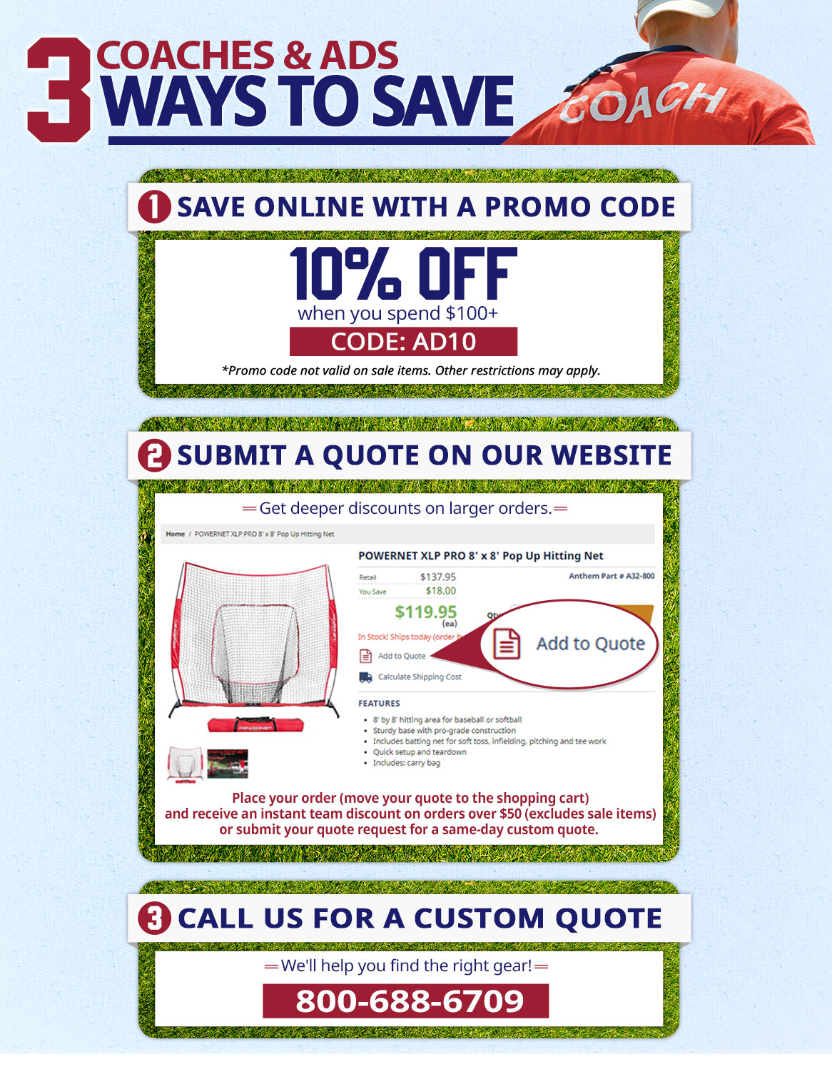 Coaches & ADs, save 10% on orders of $100 with promo code: AD10