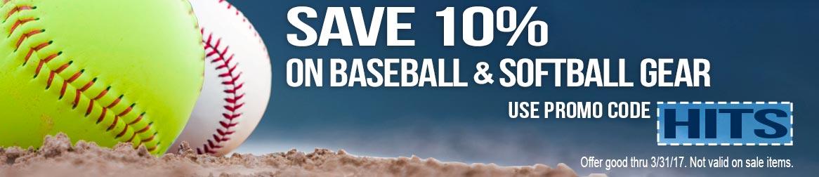 Save 10% on Baseball & Softball Gear with promo code: HITS