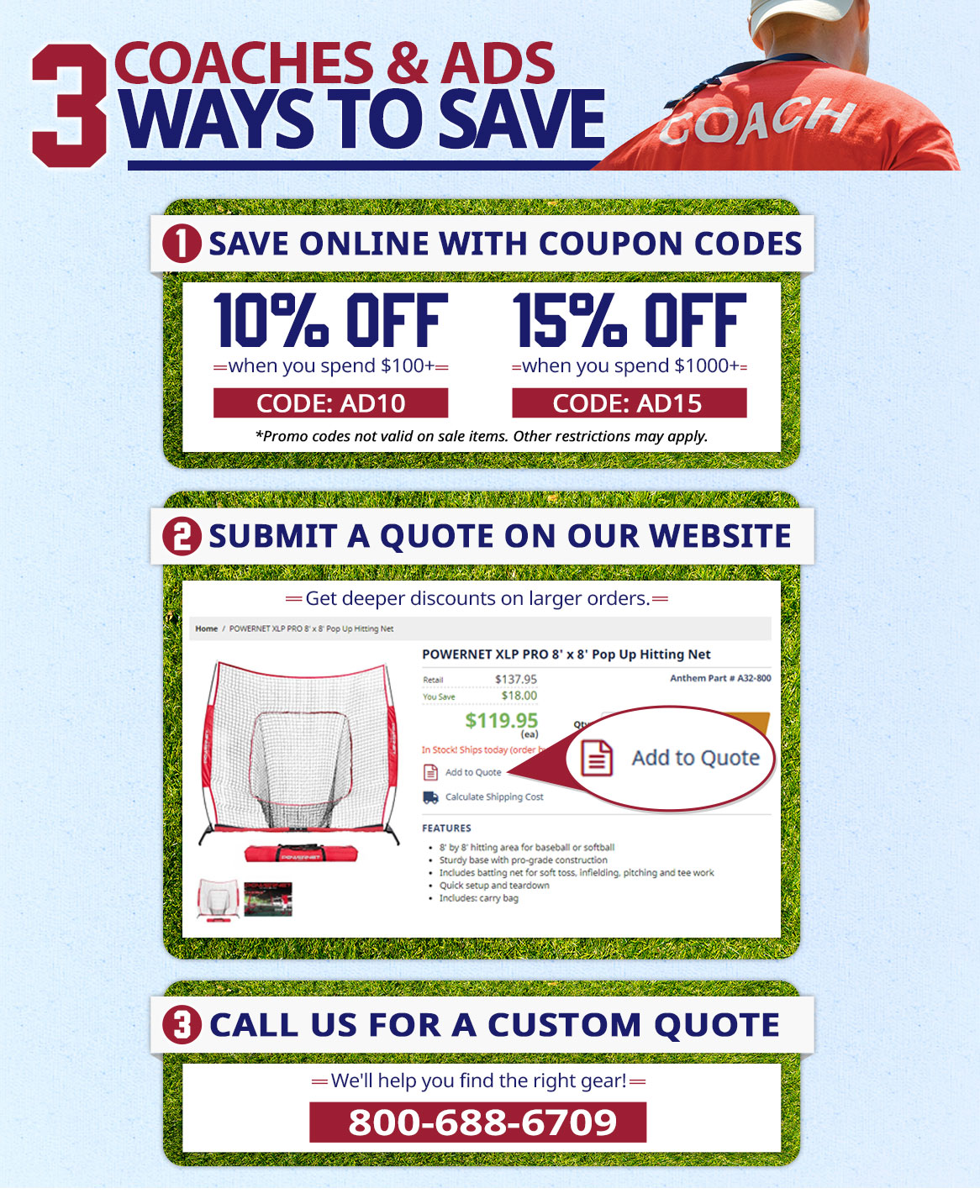 Coaches & ADs, save 10% on orders of $100 with promo code: AD10. Save 15% on orders of $1000+ with promo code: AD15.