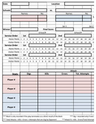 Sample Volleyball Worksheet Template