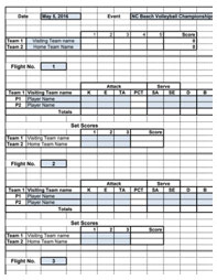 Sample Volleyball Box Score Template