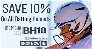 Save 10% on Baseball Batting Helmets and Softball Batting Helmets with promo code BH10 (not valid on sale items)