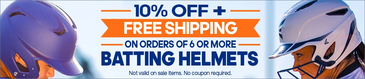 Save 10% + get Free Shipping on Batting Helmets