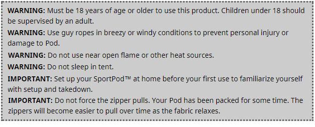 TeamPod™ Warnings