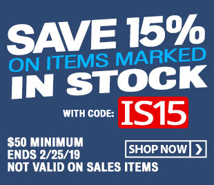 Save 15% on Items Marked In Stock