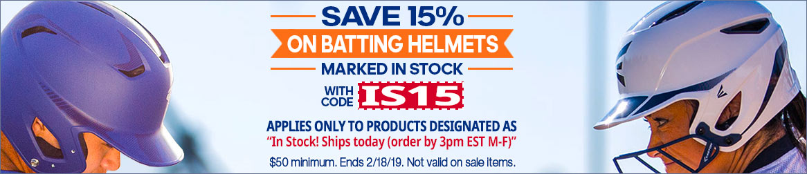 Save 15% on Batting Helmets marked in stock with promo code IS15