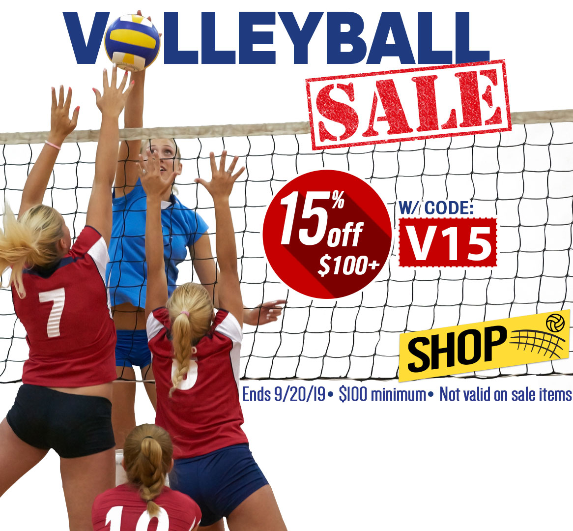 Volleyball Equipment Sale. Save 15%.