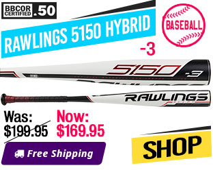 2019 Rawlings 5150 Hybrid -3 (2-5/8) BBCOR Baseball Bat, BB953