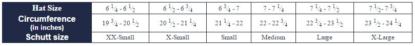 Schutt Batting Helmet Size Chart