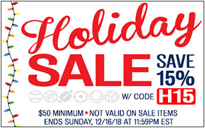 HOLIDAY SALE - SAVE 15% w/ promo code H15 ($50 min. Not valid on sale items. Ends 12/16/18 at 11:59pm EST).