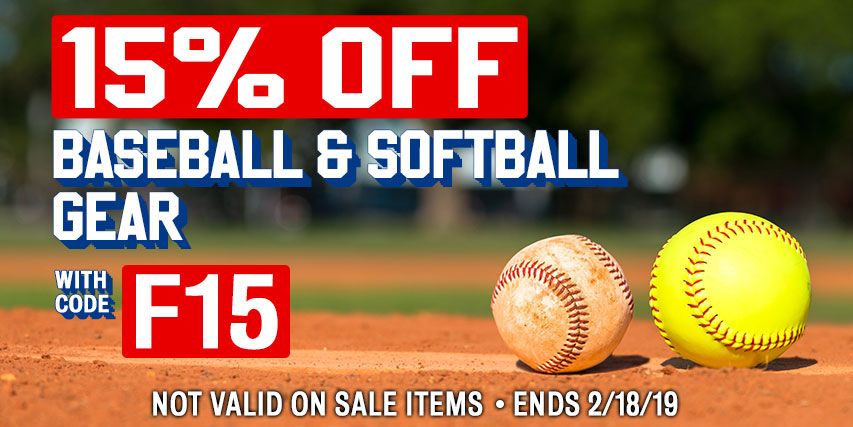 15% Off Baseball & Softball Gear w/ promo code F15 (Not valid on sale items. Ends 2/18/19 at 11:59pm EST).