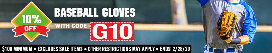 Save 10% on Baseball Gloves